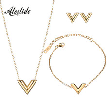 Atoztide Simple Alphabet V Necklace Stainless Steel font b Gold b font Color Charm Choker Necklaces