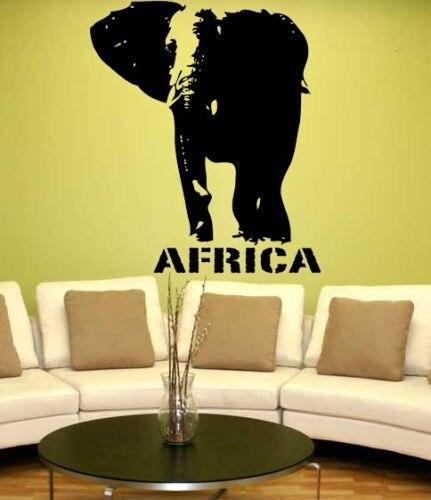 Elephant Wall Sticker Huge Elephant Africa Safari Zoo Animal PVC Wall Art  Sticker Kids Bedroom Home