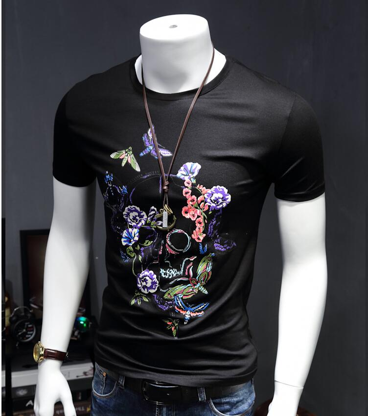 New Arrival Beautiful font b Men b font Bone Printing Geometric Pattern Short Sleeve T font