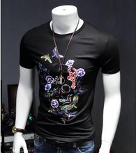 New Arrival Beautiful Men Bone Printing Geometric Pattern Short Sleeve T-Shirt Slim Simple Modal Shirt Size M-4xl