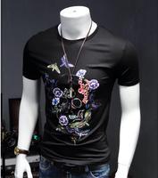 New Arrival Beautiful Men Bone Printing Geometric Pattern Short Sleeve T Shirt Slim Simple Modal Shirt