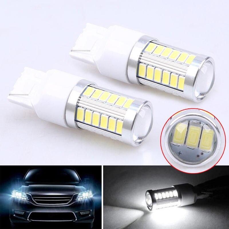 POSSBAY 1 Pair T20 W21W 7440 7443 33SMD 5730 White LED Car Turn Signal Fog Lamps Brake Lights Bulb Canbus Daytime Running Light 6w 6 led white light daytime running lamps for car pair dc 9 32v
