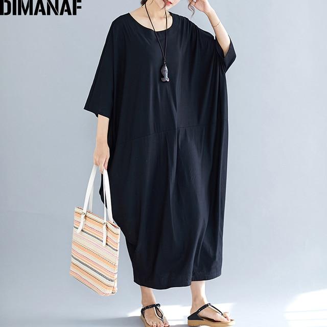 9062fe012b DIMANAF Plus Size kobiety sukienka duży rozmiar bawełna kobiet Vestidos  luźne Batwing rękaw elegancka dama długa sukienka czarny lato 2019 6XL