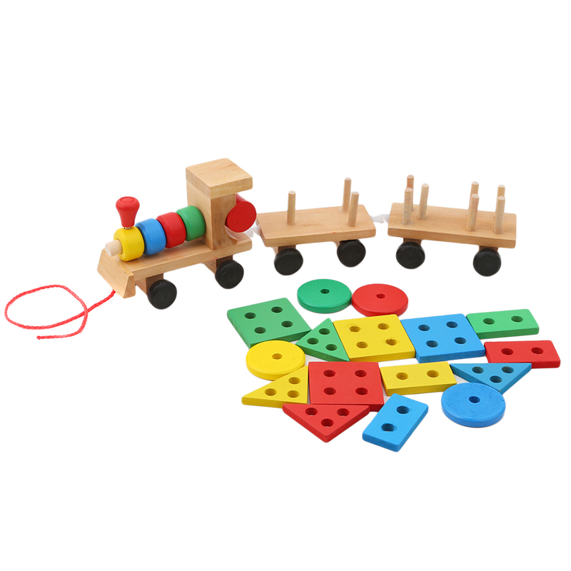 Hot Selling In 2018 Kids Baby Developmental Toys Wooden Train Truck Set Geometric Blocks Wonderful Gift Toy Drop Shipping Diecasts & Toy Vehicles