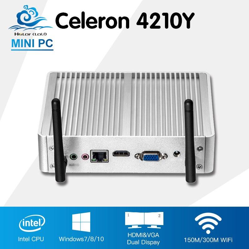 Fanless Mini Computer Intel Core i5 4210Y Windows 10 Linux Computadora Desktop HD Graphics 4200 HTPC TV Box Barebone Mini PC y каталог windows