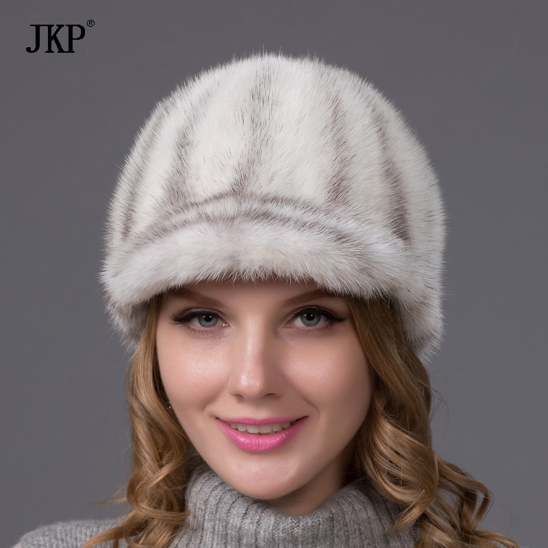 100% echtes ganzes Fell Nerz Pelzmützen Visiere Nett für Frauen Echtes Leder Winter Nerz Pelzmütze Visiere