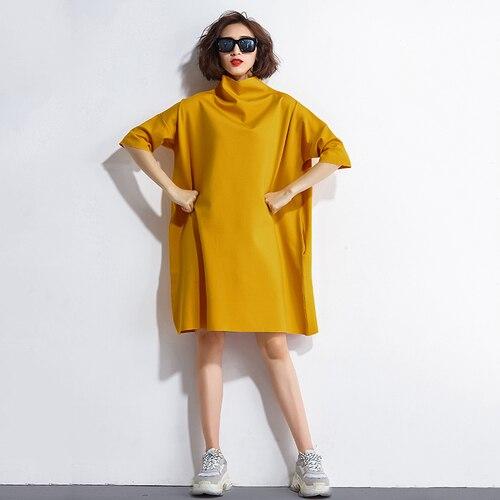 F JE 2018 Spring and autumn New fashion Half sleeve Women Loose Dress  Turtleneck Knee-length Casual Dresses Plus Size G2 74e1fd2585fc