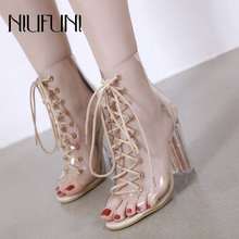 Plus Size 35-40 Women Peep Toe Boots Spring Autumn Ankle Boots Clear Heel Woman Transparent Block High Heels Bootie Mujer Boots two part clear block heels