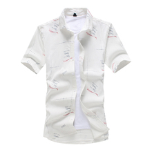 MarKyi 2018 summer new printed mens dress shirts slim fit plus size 5xl short sleeve beach