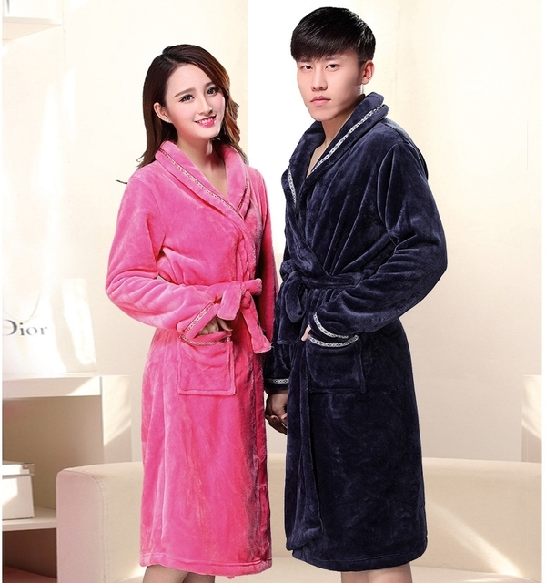 300g Flannel Robe Long Fund Flannel Pajamas Autumn And Winter Men And Bathrobe Coral Down Lovers Live Oneself Own Family Serve