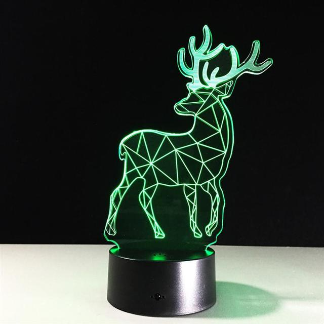 2017 Animal Deer 3D LED LAMP TABLE Touch Table lampe 7 Colors ...