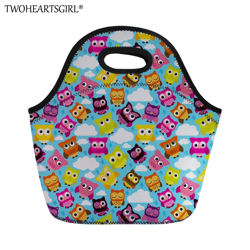 TWOHEARTSGIRL Cute Owl Prints Brand Lunch Bag Kids Picnic Bag Travel Storage Food Thermal Insulated Fashion Students Lunch Bags