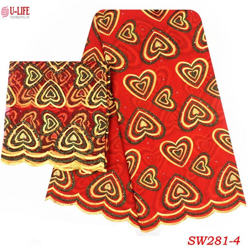 2019 tissu africain en dentelle de coton avec motif de Voile de cœurs broderie 2 Yards dentelle française pour les ensembles de robe de soirée SW-281