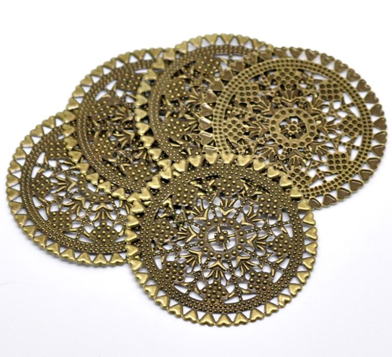 Bronze Tone Filigree Round Hollow Wraps Findings Connnector Embellishments 44mm