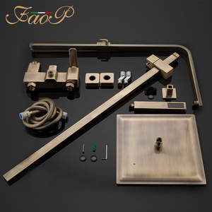 Image 4 - FAOP Shower system gold bathroom shower sets brass waterfall shower heads faucet for bathroom mixer luxury rainfall faucets