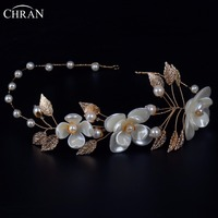 Chran Faux Pearl Flower Baroque Headbands Gold Tone Color Leaf Crown Tiara Wedding Bridal Hair Vine