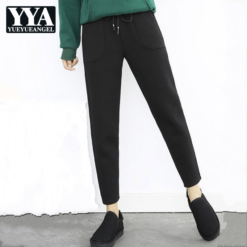 2019 New Autumn Winter Ladies Thick Warm Pants Fashion Solid High Waist Ankle Length Pants Business Casual Loose Fit Harem Pants