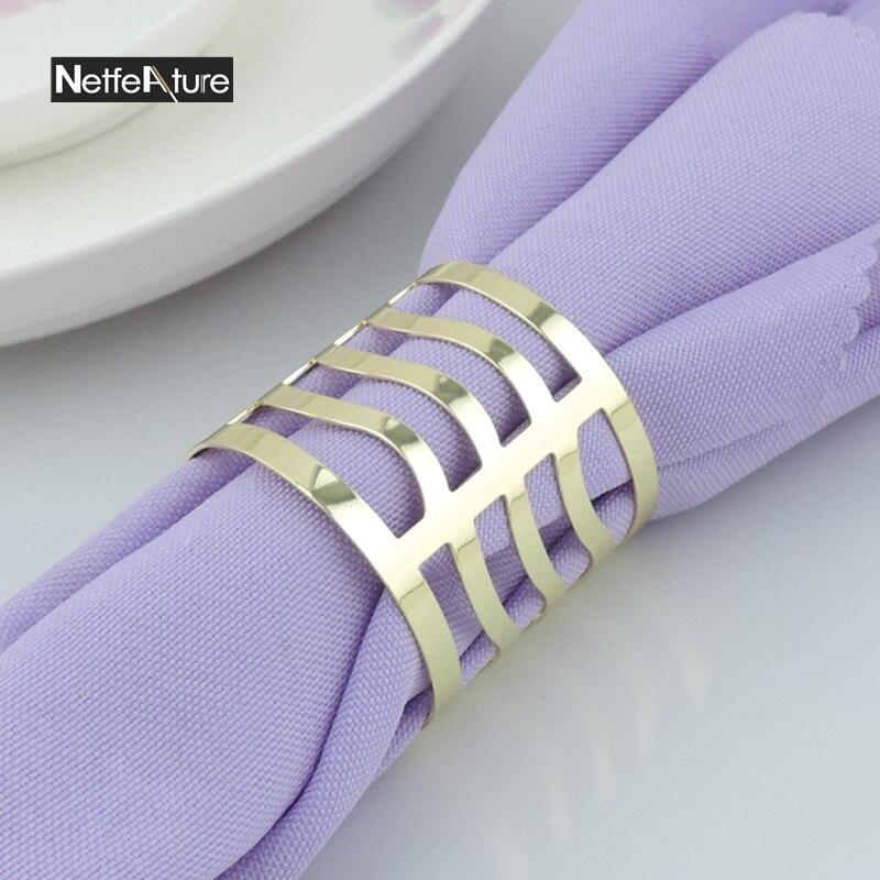 6PCS kovové slitiny zlaté a stříbrné kulaté ubrousky prsteny pro svatební hostinu ubrousek držák ubrousek spona večeře stolní dekorace