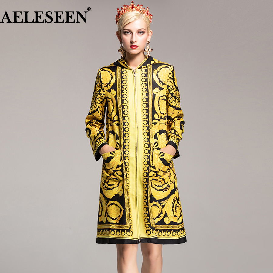 AELESEEN Luxury   Trench   Coat 2018 Autumn Winter New Fashion Women 's Runway Palace With Hat Vintage Pockets Long Designer Coat