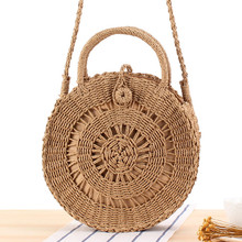 Hand-woven Round Straw Bags Handbags Mulit Style Women Summer Rattan Bag Handmade Woven Beach Circle Bohemia Handbag