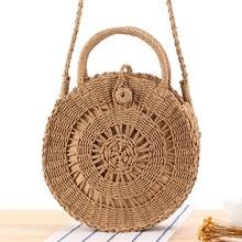 все цены на Hand-woven Round Straw Bags Handbags Mulit Style Women Summer Rattan Bag Handmade Woven Beach Circle Bohemia Rattan Bag Handbag