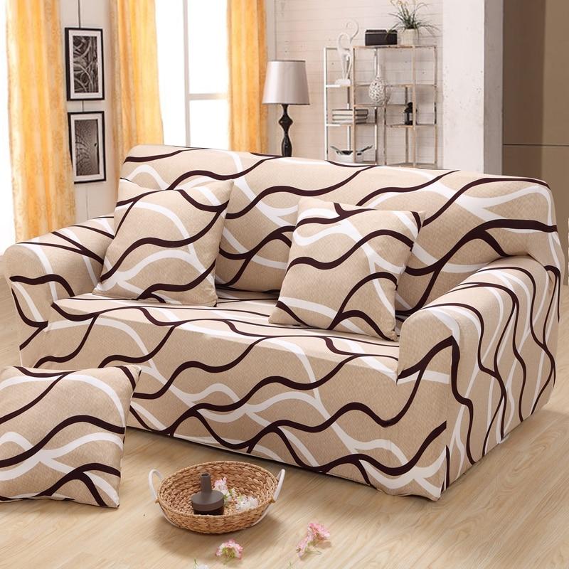 Striped Sectional Sofa Cover Elastic Small Corner Sofa