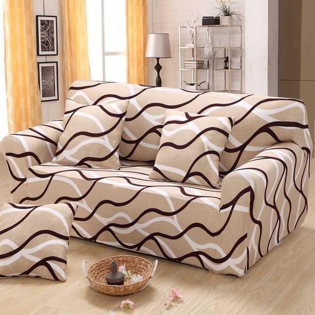 Charmant Striped Sectional Sofa Cover Elastic Small Corner Sofa Cover Home Decor  Corner Couch Covers For Single