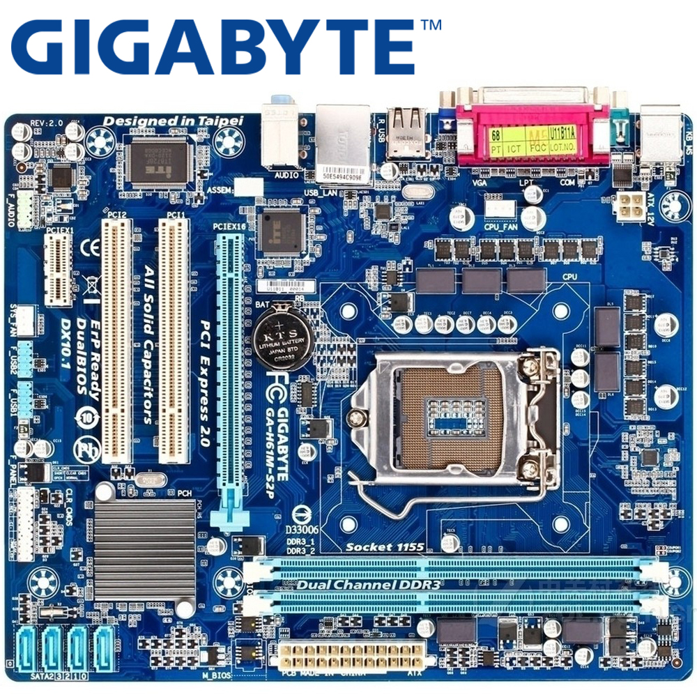 GIGABYTE GA-H61M-S2P Desktop Motherboard H61 Socket LGA 1155 i3 i5 i7 DDR3 16G uATX UEFI BIOS Original H61M-S2P Used Mainboard asus p8h61 m pro cm6630 dp desktop motherboard h61 socket lga 1155 i3 i5 i7 ddr3 16g uatx
