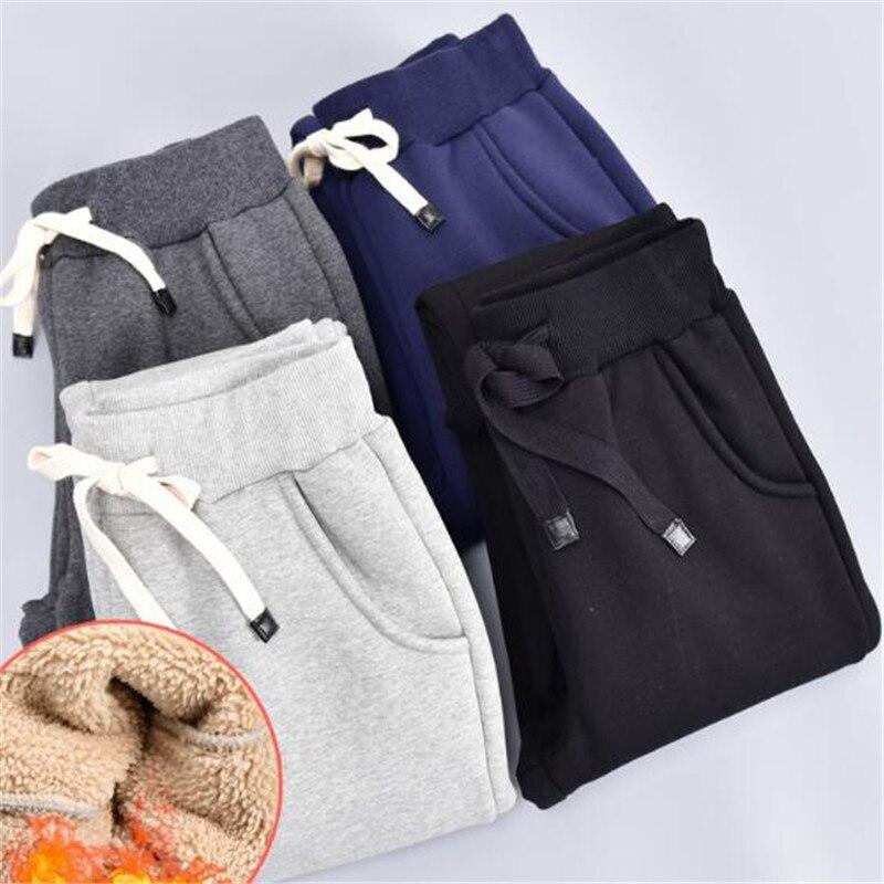 Autumn/Winter Women Thick Plus Velvet Loose Solid Color Harem Sweatpants Fashion Warm Casual Plus Size Pants Pantalon TT3080
