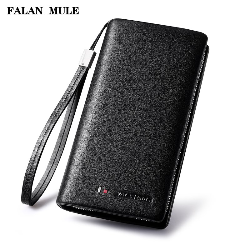 FALAN MULE Brand Fashion Luxury Genuine Leather Men Wallets Business Long Clutch Purse Cowhide Designer Wallet Card Holder long wallets for business men luxurious 100% cowhide genuine leather vintage fashion zipper men clutch purses 2017 new arrivals