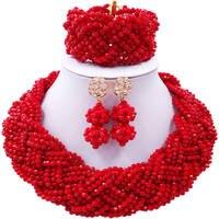 ACZUV Red African Beads Jewelry Set 12C 002