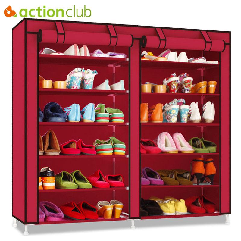 Actionclub Double Row Multi-layer Minimalist Oxford Cloth Shoe Cabinet Dustproof Moistureproof Shoe Organizer Shelves Furniture