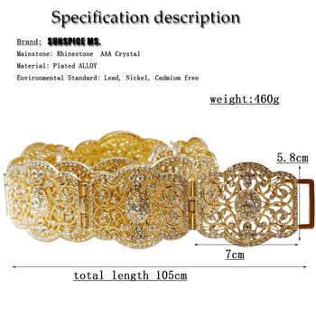 Sunspicems Elegant Moroccan Caftan Belt for Women Wedding Dress Jewelry Hollow Metal Buckle Link Chain Full Crystal Bride Gift