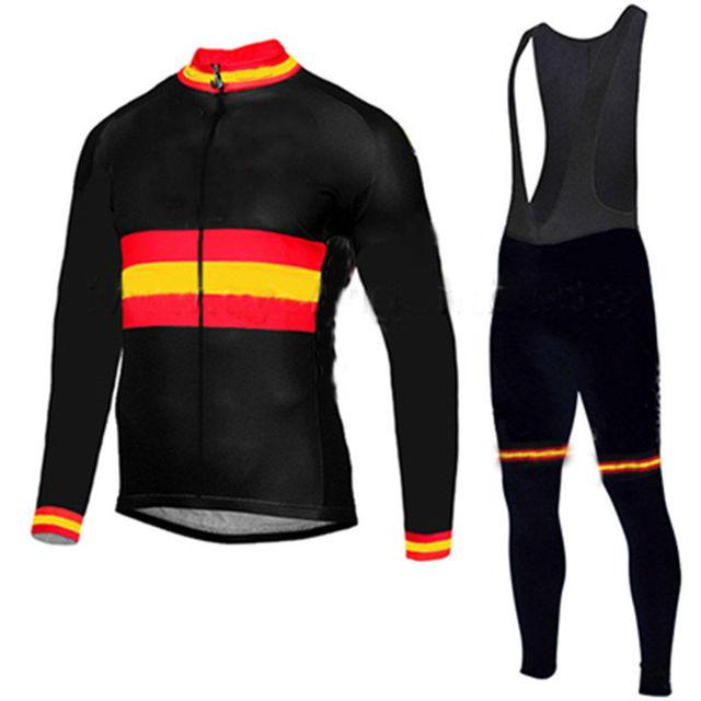 Mens Espanha equipe pro camisa de ciclismo babadores homens de manga longa  definir Outono roupas de f58d02976ee6c