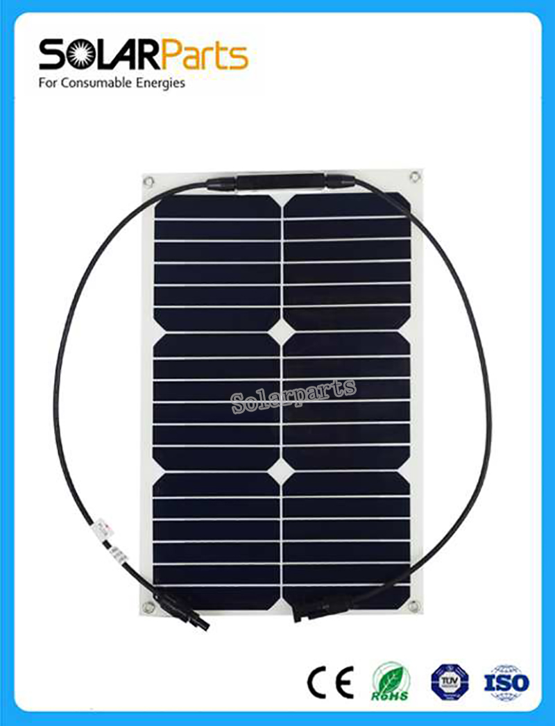 Factory price Retail solar panel 18W semi flexible solar module mono solar cell 125*125mm for 12V boat /yacht /Marine sun power.