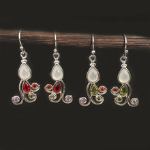 Boho Small Dangle Stone Earrings Women Red Green CZ Earring Water Drop Ethnic Vintage Indian Jewelry Antique Silver Color DBE065 trendy new women s gorgeous white silver color water drop red cz crystal dangle drop earrings for female jewelry gift