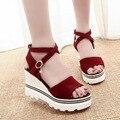 Женская Обувь модные яркие сверла с открытым носком сандалии увеличился летняя мода туфли на платформе Женщины Ботинки Высокой туфли на высоком каблуке