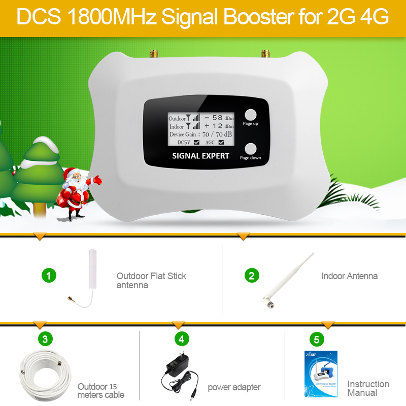 Hot sale Smart 2G 4G Cell phone Amplifier 2G repeater DCS 1800MHz mobile signal booster kit