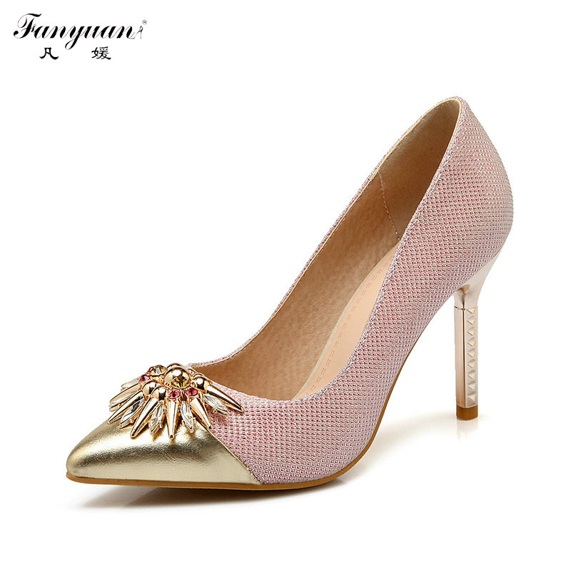 ФОТО New Spring 2017 High Thin Heels Wedding Shoes Woman Dress Pumps Metal Crystals Pointed Toe Pumps Solid Bling Elegant Pumps