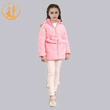 2016 2 colors New Fashion  Winter cotton Long Sleeve Girls Jacket Children Hoodied Chiffon Coat Kids Outwear