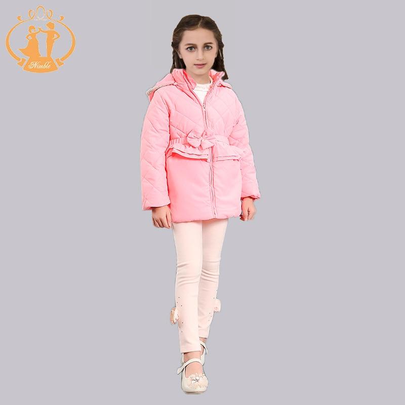2016 2 colors New Fashion  Winter cotton Long Sleeve Girls Jacket Children Hoodied Chiffon Coat Kids Outwear