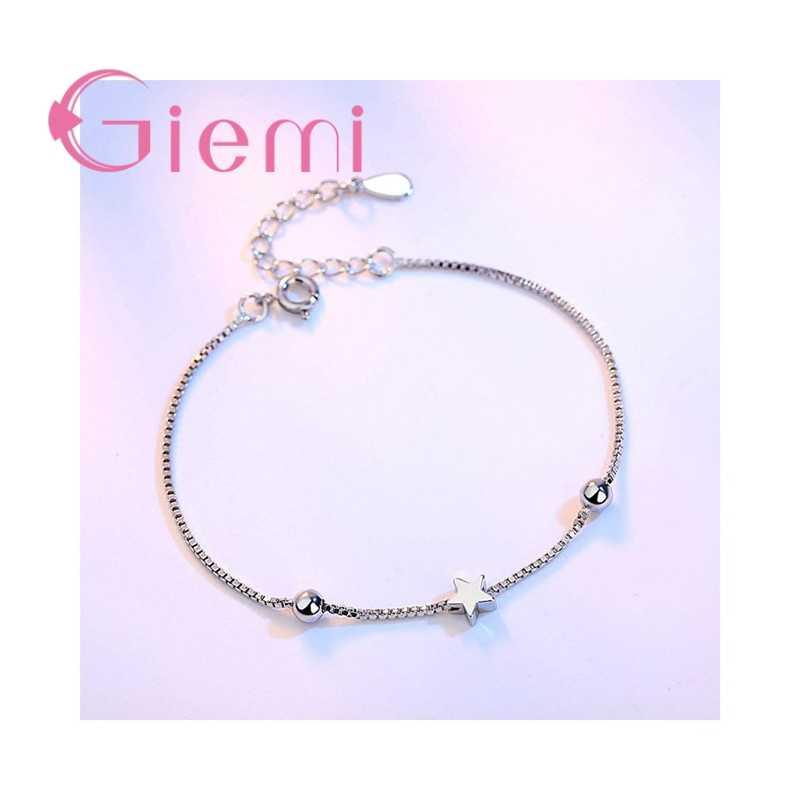 Ringkas Dibuat Kotak Gelang Rantai untuk Wanita Sederhana Persegi dan Bintang Bentuk 925 Sterling Silver Laporan Perhiasan untuk Wanita Gadis