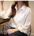 2016 Branco Novo Detalhe do Bolso de Algodão Blusas Camisa Escritório Blusa Mulheres Soltas Casual Shirt Mulheres Tops Camisas Blusas Camisas Mujer