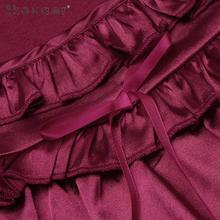 Ekouaer Women Satin Nightgown Sleepshirt Sleeveless Ruffled Lounge Homewear Nightdress Ladies Casual Loose Night Dress S-XXL