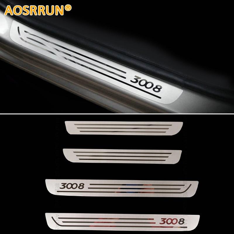 AOSRRUN Free Shipping Stainless Steel Door Sill Scuff Plate Car Accessories For Peugeot 3008 2009-2016 1Gen 2Gen