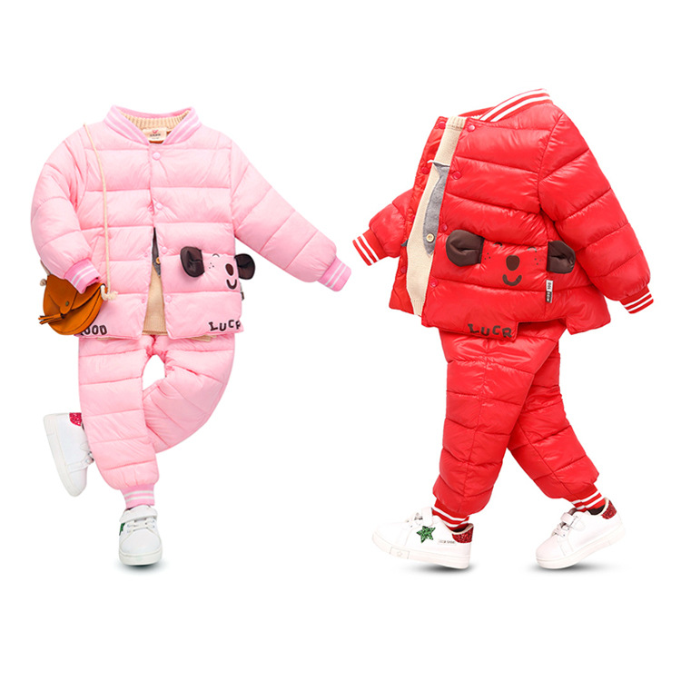 2018 autumn winter new children's down clothing suit boys and girls cute cartoon down jacket + pants two-piece warm sports set skinny blazer and pants two piece suit page 5