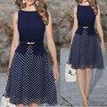Vestido de verano de Color Azul Oscuro de Lunares Vestidos Ropa de Mujer Vestido Ocasional Señoras Gasa de La Impresión Elegante de Las Señoras Ropa