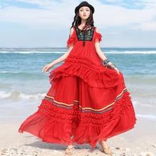 Free Shipping 2019 Boshow Bohemian Long Maxi Women Chiffon Skirts Ruffle Elastic Waist A-line S-L Beach Summer Big Hem Skirts chiffon contrast ruffle hem tee