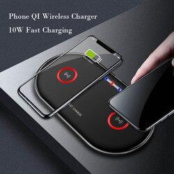 2 em 1 assento duplo carregador sem fio almofada 10 w carregamento rápido para o iphone 7.5 w 8 x xs samsung s9 mais carga do telefone móvel dispositivo qi