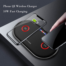 2 in 1 Double Seat Wireless Charger Pad 10W Fast Charging for iPhone 7.5W 8 X XS Samsung S9 PLUS Charge Mobile Phone QI Device